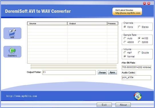 Interface of Free avi to WAV Converter