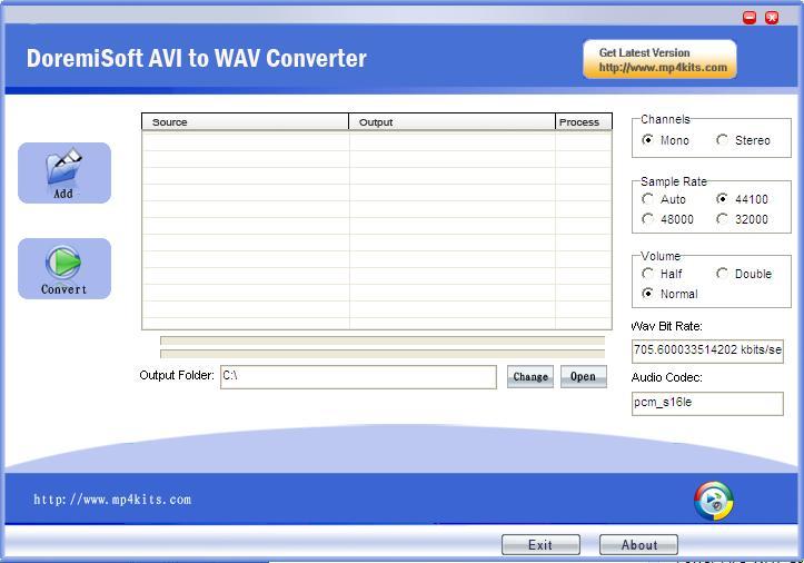 Doremisoft AVI to WAV Converter screenshot